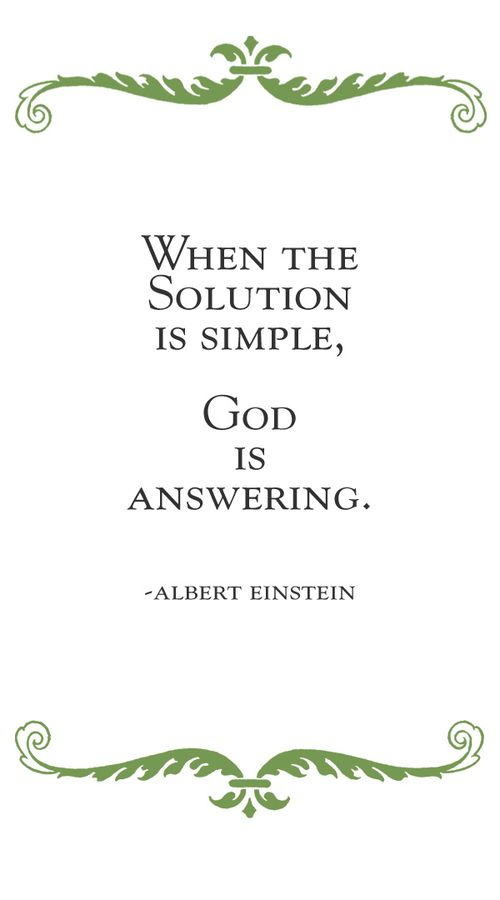 When the solution is simple