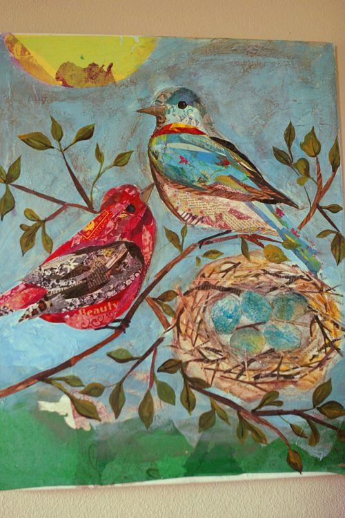 5 bird collage