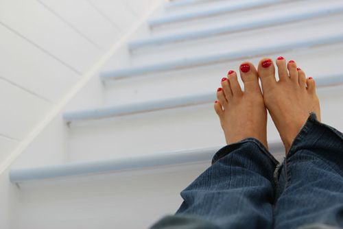 Feet on stairs