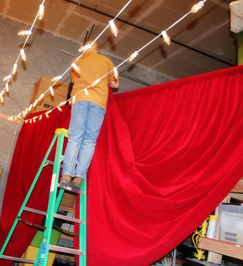 Marq hanging movie curtain
